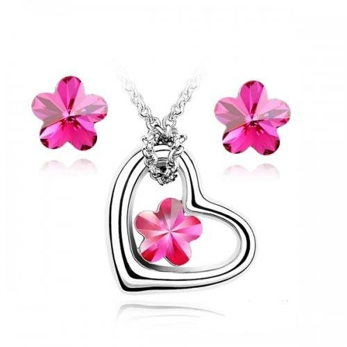 $30.99 Contessa Bella Fancy Genuine 18k White Gold Plated Hot Pink Swarovski Austrian Crystal Heart and Flower Pendant Women Necklace and Earrings Set Elegant Silver Color Crystal Jewelry N9906  From Contessa Bella Jewelry Sets   Get it here: http://astore.amazon.com/ffiilliipp-20/detail/B0097COBCA/191-8937255-1042659