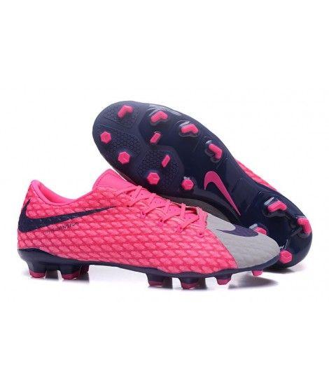Nike Hypervenom Phelon III FG PEVNÝ POVRCH Růžový Šedá Modrý Muži Kopačky