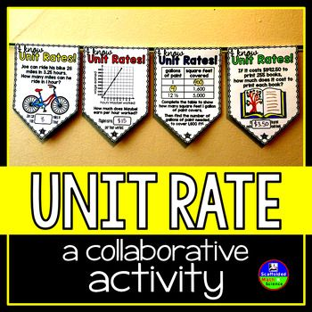 Unit Rate. In this collaborative activity, students find unit rates from tables, graphs and word problems. Some problems involve fractions or decimals. Some problems ask students to use the unit rate they find to then find the cost, etc. of additional numbers of items.