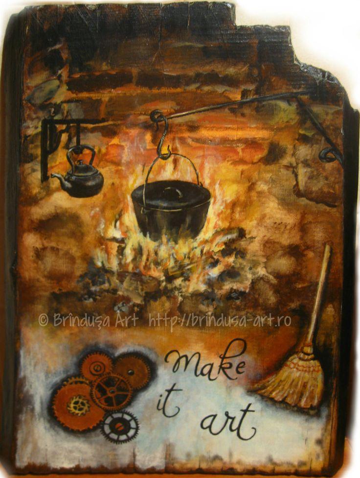 """One of my dearest paintings.  """"She decided for art, to make her life art."""" (Ann Voskamp) Una din picturile mele cele mai dragi. """"S-a hotărât în favoarea artei – să-şi facă din viaţă o artă."""" (Ann Voskamp) #woodpainting #picturapelemn #art #arta #warmth #AnnVoskamp #acrylics #acrilice #BrindusaArt #handmade"""