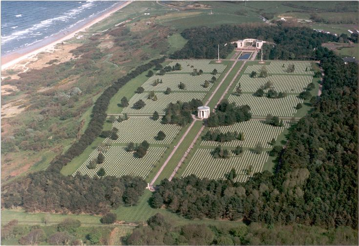 Normandy American Cemetery and Memorial overlooking Omaha Beach in Colleville-sur-Mer, Normandy, France.