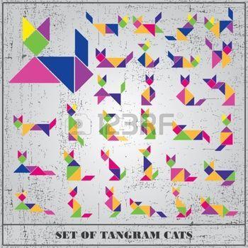 tangram: Set of grunge tangram cats