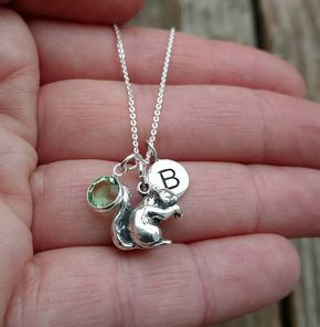 Sterling Silver Squirrel Initial Letter Swarovski Crystal Birthstone Personalized Charm Necklace #Personalized #Gift #Gifts #Handmade #jewelry #necklaces #necklace #fashion #etsy #shopping #shoppingonline #love #squirrel #squirrels #etsy #handmade #Christmas #Birthday #critters #critter #animals #woodland #woodsy #woods #love #personalized #personal#daughter #mother #grandmother #grandmagift #grandma #sister #niece #best #friend #friendship #bestfriends