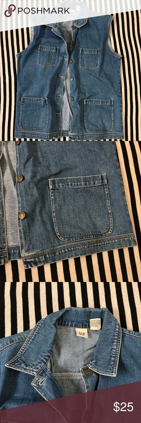 "GAP Denim Blue Sleeveless Jean Jacket Vest Brand : GAP  Size : Medium  Materials : 100% Cotton   Condition : In good vintage condition. No flaws.   Measurements :  Chest = 23.5""  Length = 28.5"" Vintage Jackets & Coats Vests"