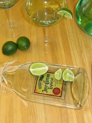 How to flatten bottles to make cutting boards or small serving trays.