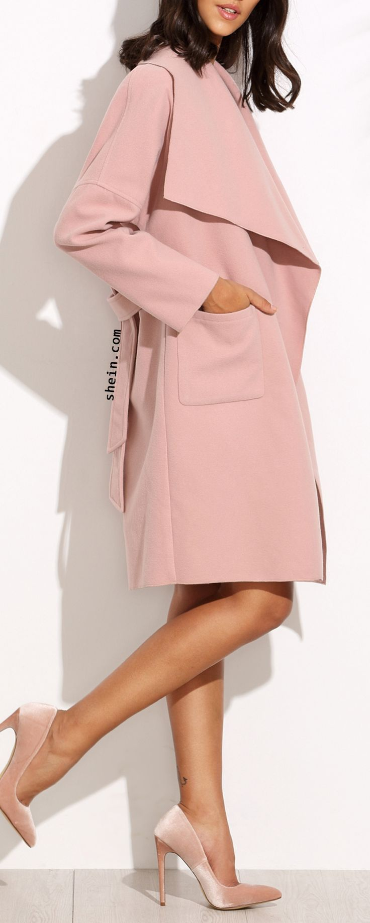 Pink drape collar wrap coat. More coat with Free shipping & 40% off on Black Friday!