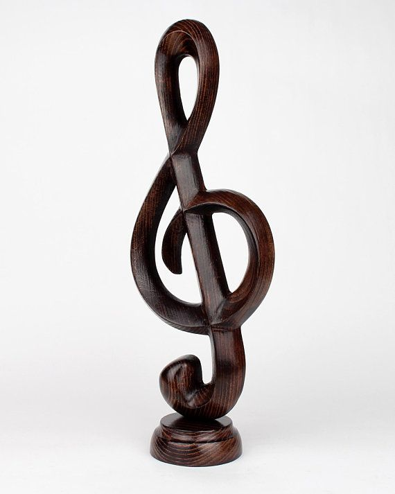 Carved Wood Treble Clef Figurine Music Sculpture Table