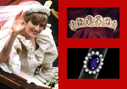 Royal Wedding Princess Diana, tiara & engagement ring on her wedding day in 1981