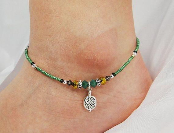 Anklet, Ankle Bracelet, Celtic Oval Charm, Green, Brass Gold, Grey, Swarovski Crystal, Beaded, Customizable, Beach, Vacation, Irish