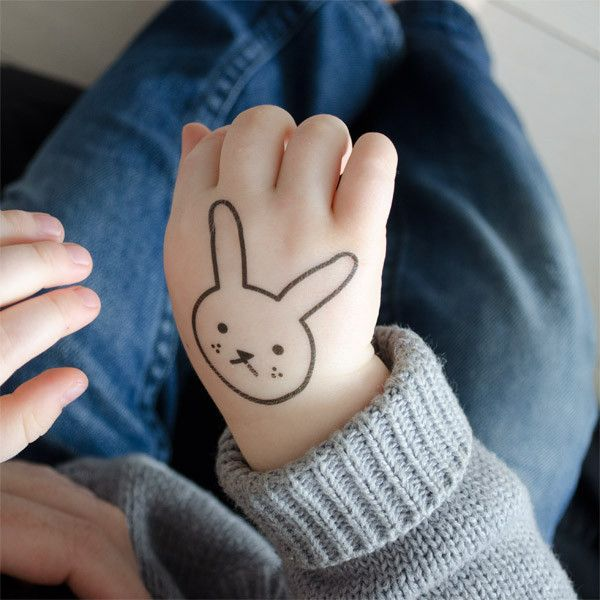 Freckles the shy little hare (kids temporary tattoo)