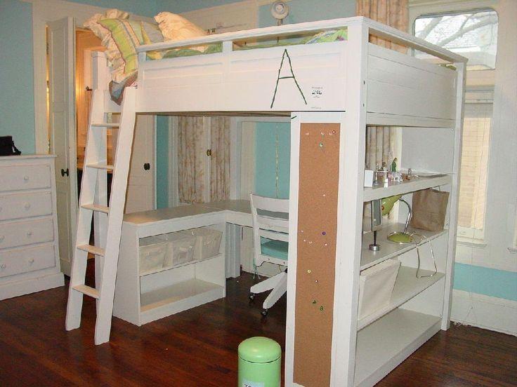 Pottery Barn Sleep Study Loft Bed White Wooden Loft Bed