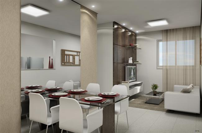 Sala de Jantar Pequena com Espelho integrada com Sala de Estar