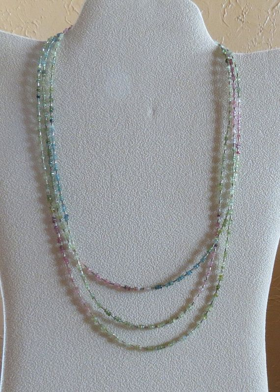 Shades of Green Pink Blue Tourmaline and Sterling Silver