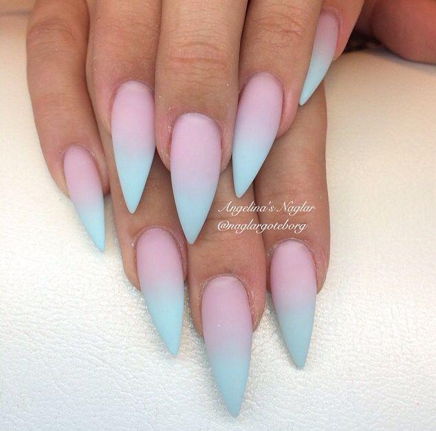 Aqua ombre stiletto nails