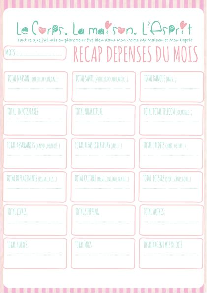 Free printable pour faire le budget de la maison for Magazine le journal de la maison