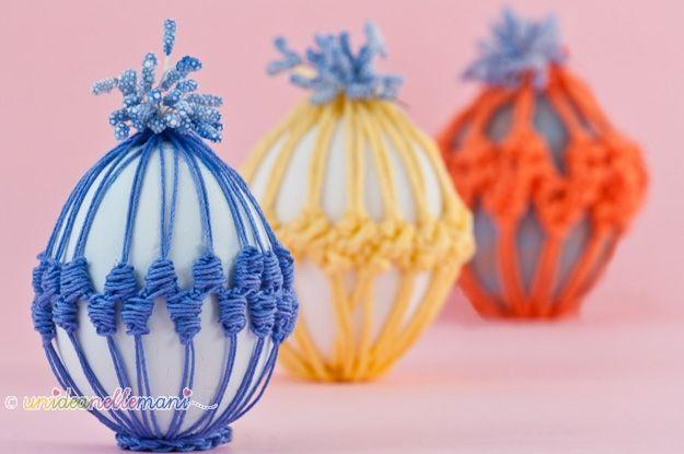 uova decorate all'uncinetto, uova decorate, uova rivestite uncinetto, uova di pasqua, decorazioni uova di pasqua, decorare uova di pasqua, s...