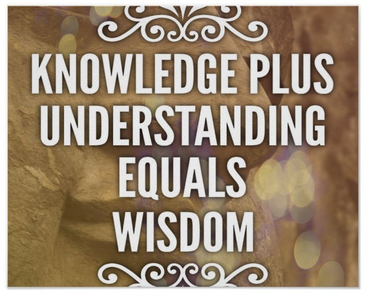 """""""Knowledge plus understanding equals wisdom."""" I'm not sure what age you have to be before you begin to appreciate the value of wisdom. I must say, it's rare to see it in the young. Traditionally I think we associate wisdom with older folks. There's a whole book in the Bible devoted to Wisdom: """"The Book of Wisdom."""""""