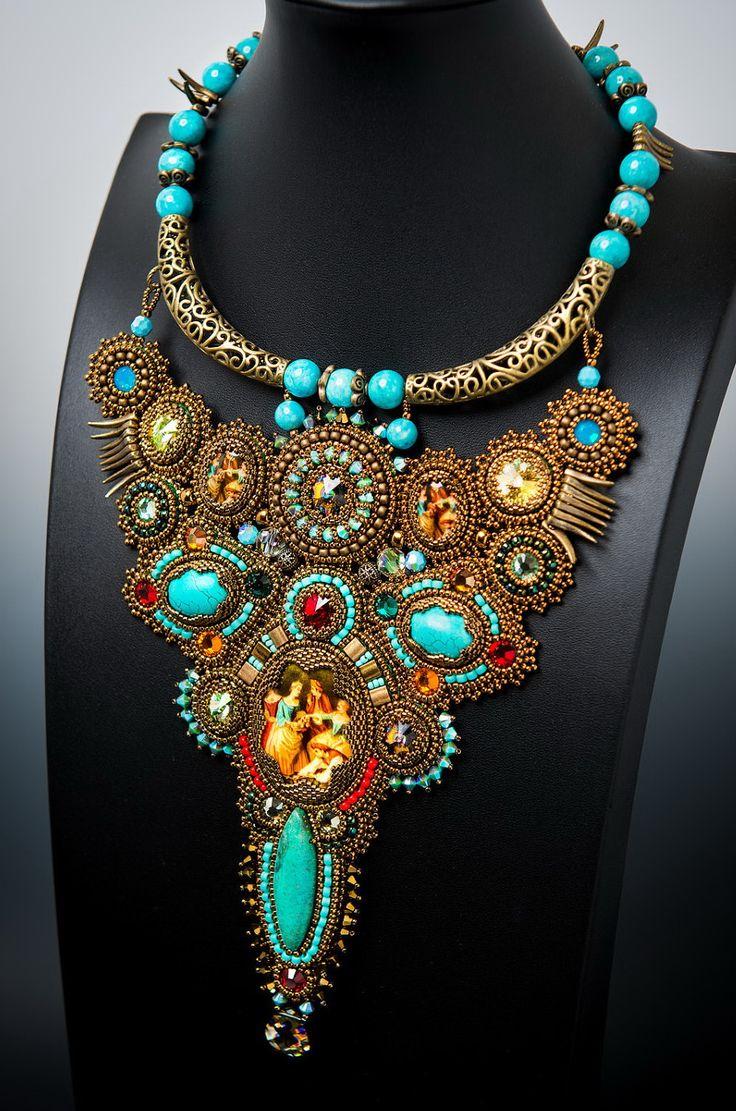 Beautiful bead embroidered jewelry by guzialia reed see