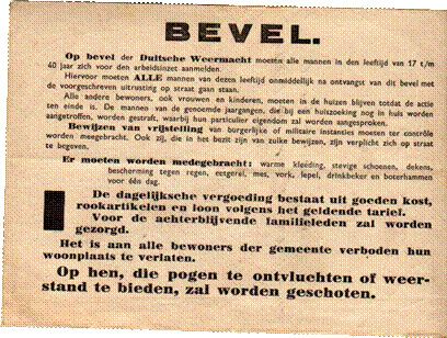 WW2 in the Netherlands - The order for all men to report for work in Germany