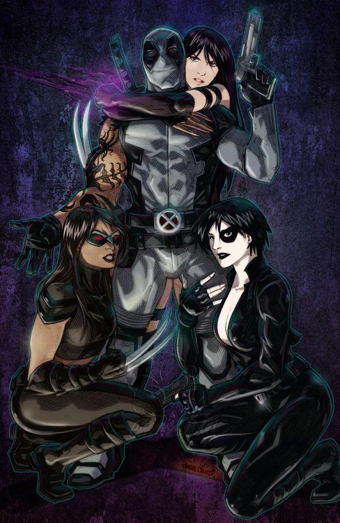 Deadpool, Domino, Psylocke, and X-23