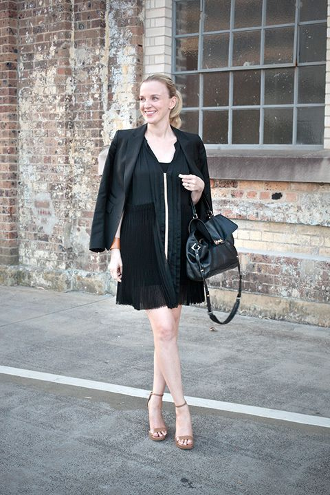 Alex Noonan, beauty director. Rachel Ruddick cuff, Jan Logan ring, Marc Jacobs bag, Michael Kors heels, Willow dress and Clemens en August blazer.
