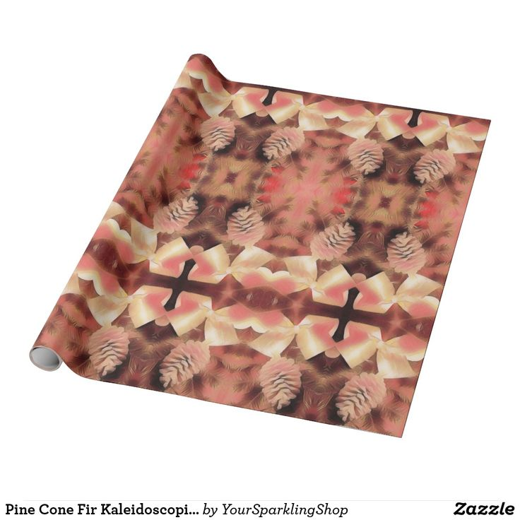 Pine Cone Fir Kaleidoscopic Design Peach Pink #christmas #pinecones  #giftwrapping