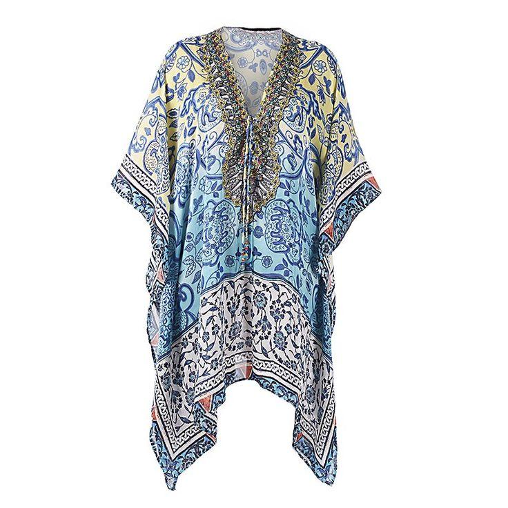 SHORT KAFTAN DRESS IN BLUE-YELLOW PRINT X-LARGE - Skirts-Dresses - Clothes