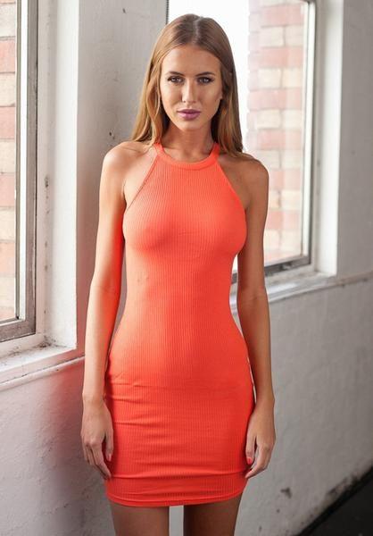 orange party dress, orange bodycon dress, sleeveless mini dress - Crystalline