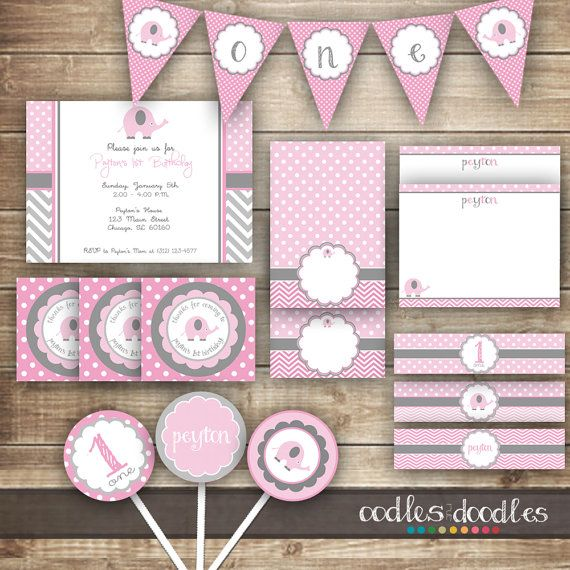 First Birthday, 1st Birthday Chevron and Elephant Party Kit / Girl's Birthday Party Package / Pink & Gray / Chevron, Polka Dots - Printable