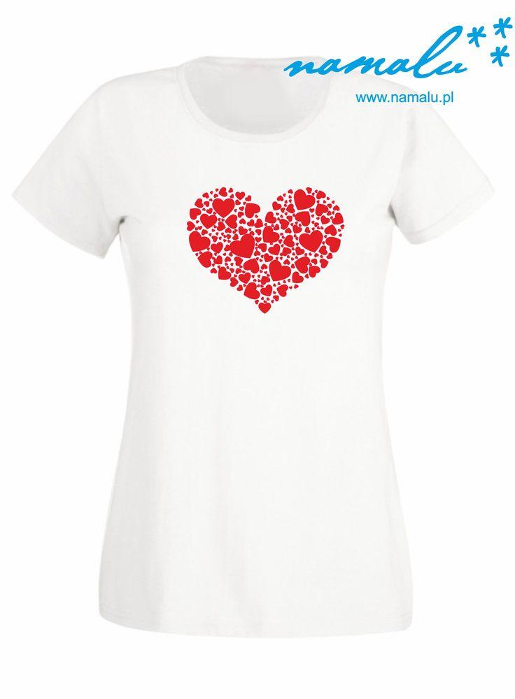 http://namalu.pl/damskie/99-serducho-koszulka-damska.html   T-shirt damski prezent śmieszny Czarna lub biała koszulka damska z nadrukiem serca serce hearts love miłość valentine's day walentynki zakochani ubranie koszulka nadruk print polish polska firma dobre bo polskie