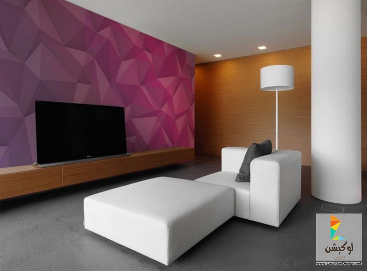 Living Room Beautiful Pink Wallpaper Decorating Simple That Also Have Sophisticated Led Screen Tv Small Sofa In White Lovely Painted Wall