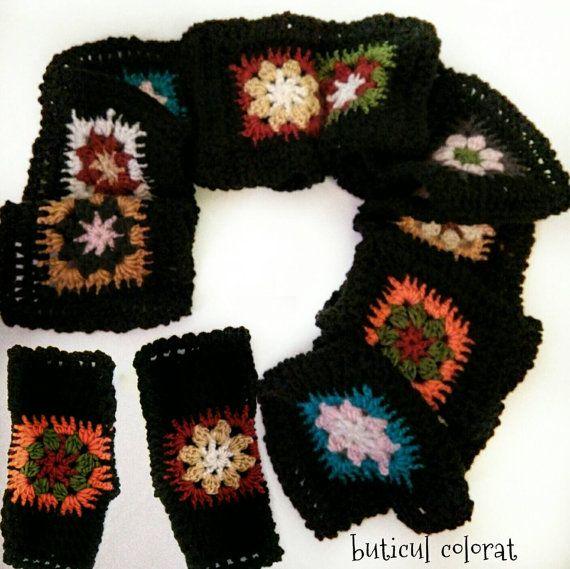 Crochet scarf crochet mittens fingerless gloves by ButiculColorat