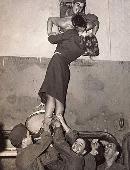 Passionate kiss, Marlene Dietrich kissing a GI after WW II 1945