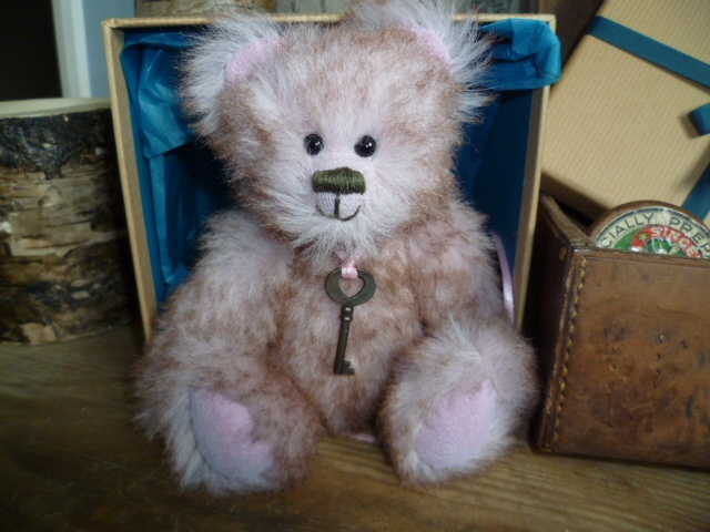 'Freya' A unique bear made with soft pink mohair. Perfect as a 21st birthday present from JABAKAT