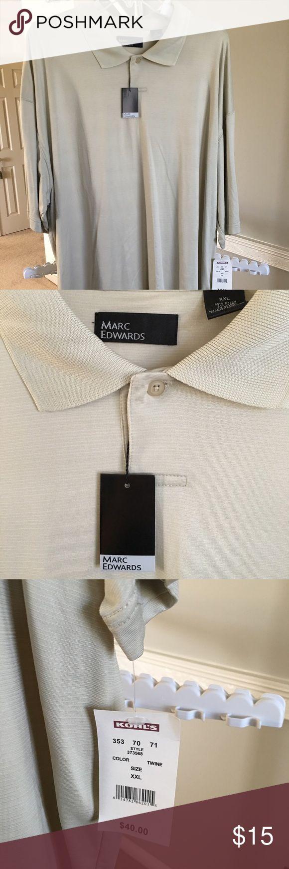 NWT Men's Marc Edwards Sport Shirt Tan color, short sleeve Shirts Casual Button Down Shirts