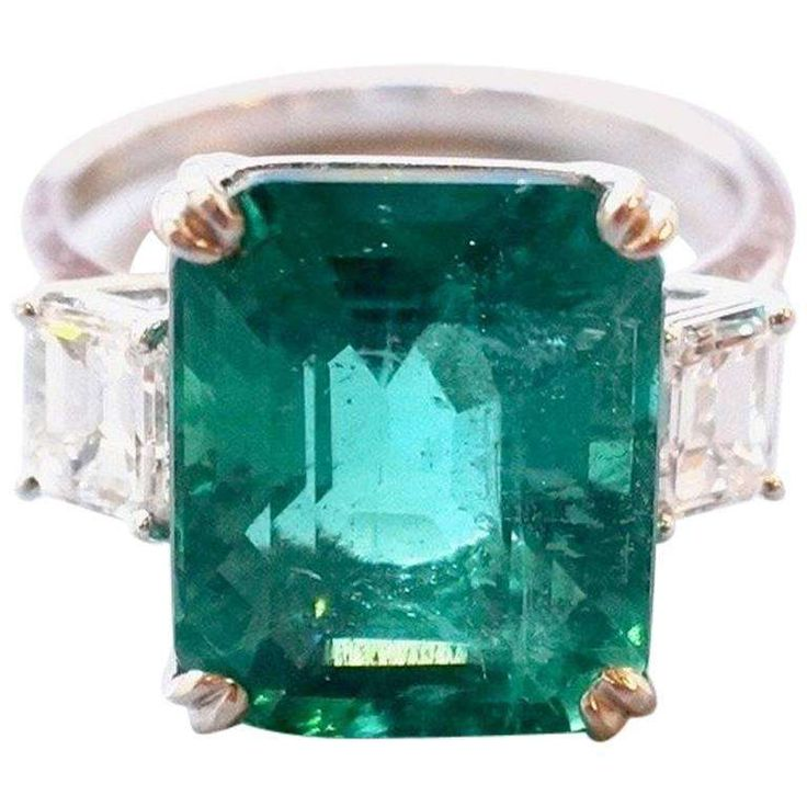 C. Dunaigre Certified 7.56 Carat Zambian Emerald and White Diamond Platinum Ring 1