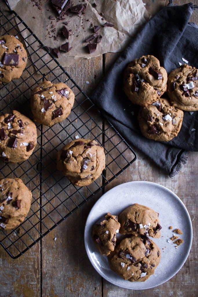 Salted Tahini Chocolate Chip Cookies   Gluten and refined sugar free!