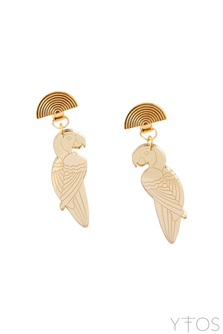 'Golden Parrot' Gold Earrings