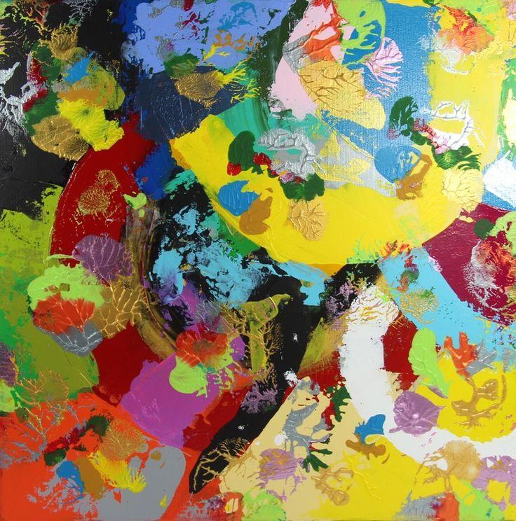 15145  Toile bleue - Peinture,  50x50 cm ©2015 par Pascal Cavalli -                                        Art abstrait, Art abstrait