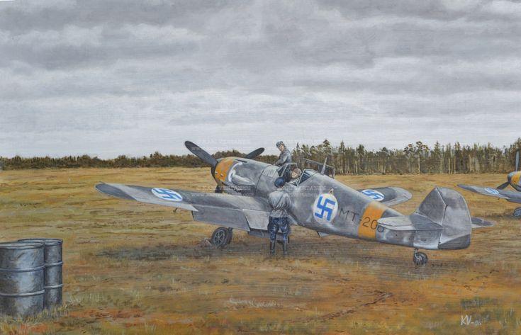 Messerschmitt Bf 109 G-2 MT-206 lähdössä lennolle syksyllä 1943. #Messerschmitt #WWII #FinnishAirForce #TakeOff