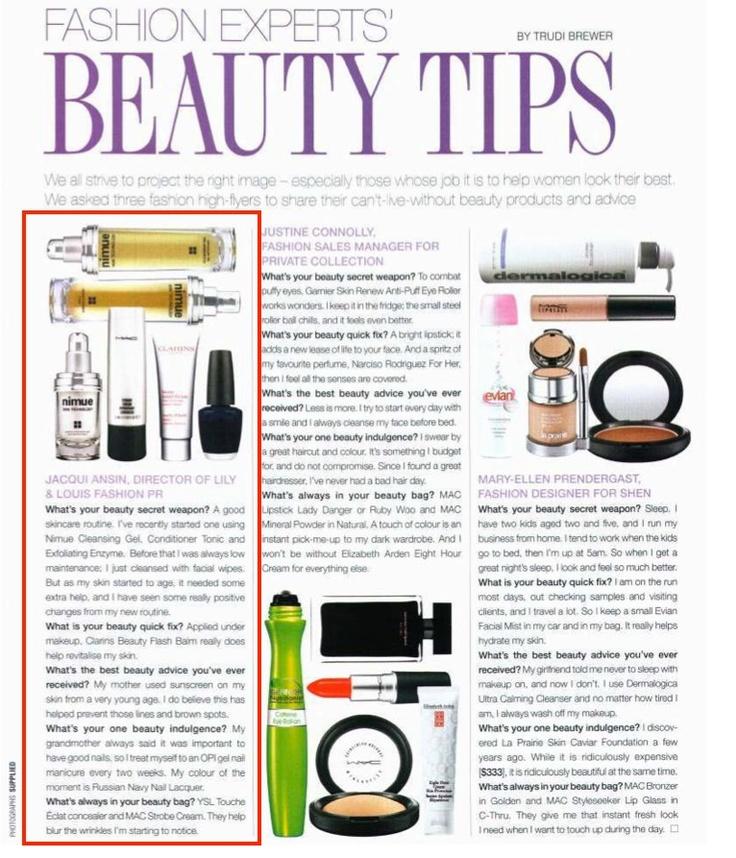 New Zealand August 2012  Fashion Experts on Beauty Tips  www.nimueskin.com