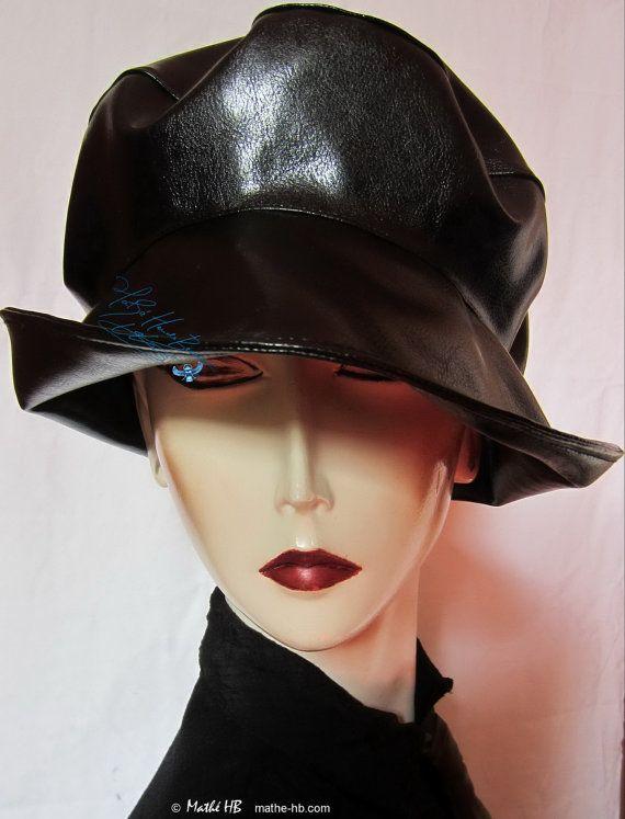 chapeau de pluie noir sur commande couvre-chef unisexe très