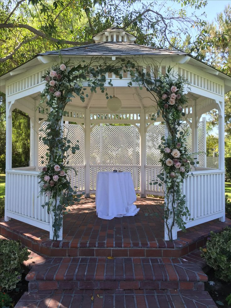 1000 images about gazebo wedding ceremony on pinterest for Outdoor wedding gazebo decorating ideas