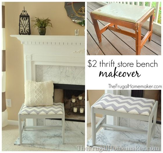 Easy DIY Thrift Store Bench Makeover By Childress Childress {The Frugal  Homemaker} Featuring A Value Village Thrift Find And Gray And White Chevron  Print.