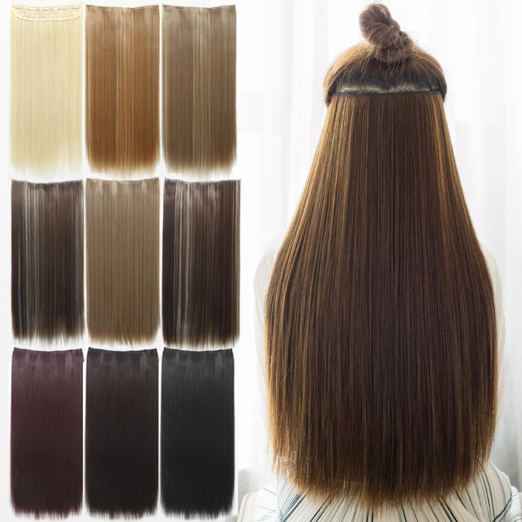 "5 Clip 24"" Hair Extension Straight Clip in  Hair Extensions Pad Synthetic False Hair Styling Fashions Women Brown Natral Black"