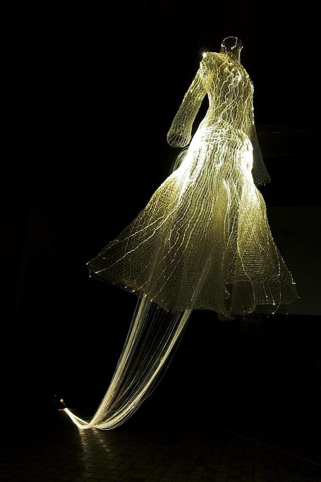 Kim Tae Gon's ghostly sculpture 'Fibre optic dress'. The 2007 Radiance festival; Glasgow, Scotland