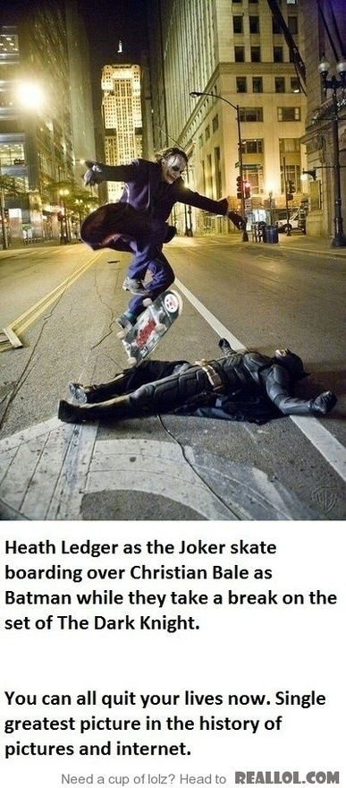 Heath Ledger as the Joker skate boarding over Christian Bale as Batman
