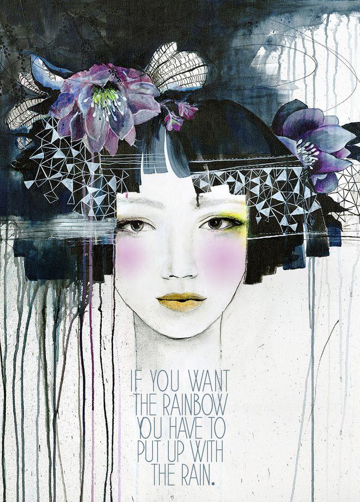 """Rain Child"" by Anahata Katkin for PAPAYA! (Acrylic pencil on canvas.)"
