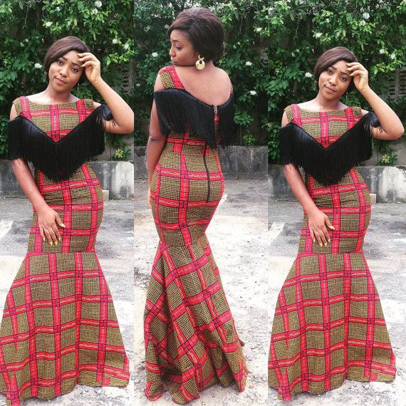 African print mermaid dress with fringe by ElpiscreationsNG