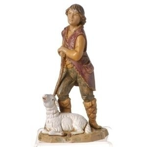 "Fontanini 5"" Paul, Shepherd With Sheep Christmas Nativity Figurine #72688. For the Fontanini 5"" Collection By Roman Inc. Item #72688 Figurine has been beautifully sculpted and hand-painted by skilled, Italian artisans and its quality reflects the many generations of talent behind the Fontanini name Actual dimensions: 5.25""H x 3""W x 2.25""D Material(s): virtually unbreakable, child-friendly polymer Comes gift boxed and includes a story card"